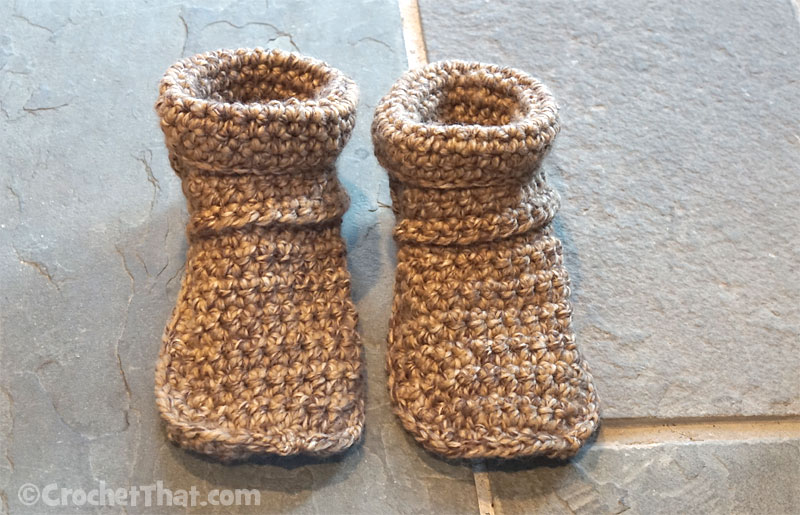 Crocheted Slipper Boots Made with Chunky Yarn